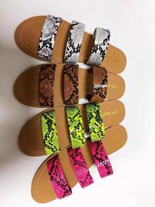 Kadınlar Yaz Terlik Yılan derisi Bayanlar Sandalet Düz Ayakkabı Plaj Açık Günlük Ayak Giyim Üç katmanlı Kaymaz Slaytlar In Stok Ucuz