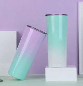 Edelstahl-dünne Tumblers Vacuum Insulated Gerade Becher Bier Kaffeetasse Gläser mit Deckel aus Metall Wasserflasche GGA2705