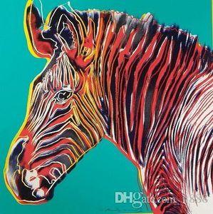 Imprimé Zebra peint à la main d'Andy Warhol Grévy HD Résumé peinture à l'huile d'art, mur d'art Décoration intérieure sur toile multi-tailles A88 200311