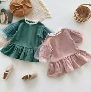Baby Girls Clothes Kids Lace Ruffle Dresses Chidren Lovely Puff Sleeve Princess Dress Boutique Dresses Party Dance Clothing BYP322