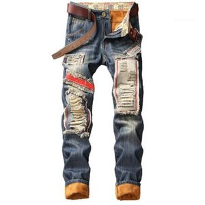 Big Hole Patch Jeans Straight Skateboard Pencil Pants Fashion Mens Jeans Thicken Add Cashmere Mens Trousers Retro