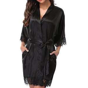 Sexy Lingerie Lace delle signore delle donne Sleepwear Robe Lace Medio Estate Sleece Accappatoio mezza manica corta solido Sleepshirt Camicie da notte