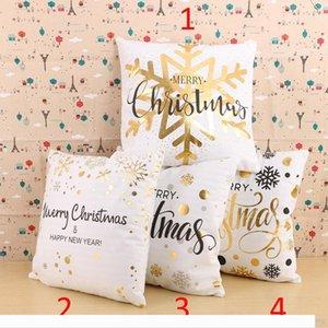 Casi Designer Felice Anno Nuovo oro Stamp decorativo federa morbido cotone PP fiocco di neve di Buon Natale cuscini 45x45cm casa Pa
