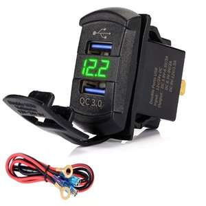 heap Car Chargers Quick Charge 3.0 Dual USB Rocker Switch QC 3.0 Fast Charger LED Voltmeter for Boats Car Truck Motorcycle Smartphone Tab...
