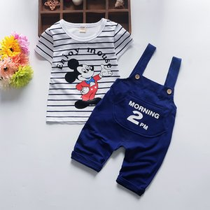 Été nouveaux garçons et filles coton sangle à manches courtes ensemble des animaux de dessin animé 0-3 ans vêtements pour enfants