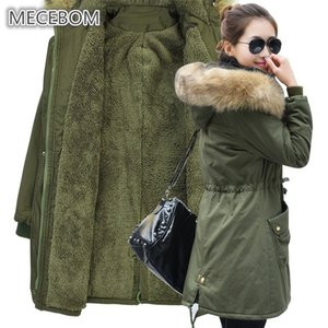 MECEBOM Mode Herbst Warme Winterjacken Frauen Pelzkragen Lange Parka Plus Größe 4xl Casual Cotton Womens Outwear Parka 1223c T190610