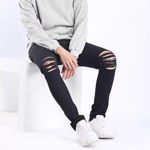 1 Designer Slides Mens 2020 Yuxury roupas de grife Jeans Designer Calças justas Ripped Destruído estiramento Slim Fit Calças com furos para Homens
