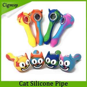 Cat Face Silicone Smoking Pipe sorridente forma silicone bong glow Bong portatile mano cucchiaio con tubo Glass Bowl vs twisty glass pipe blunt