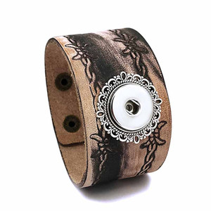 Fashion Punk 300 Interchangeable Really Genuine Leather Retro Bracelet 18mm Snap Button Bangle Charm Jewelry For Women Men Gift
