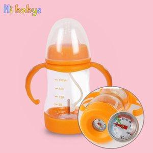 Säuglingsernährung Flaschen Temperaturmessmilchflasche Silikon Training Trinkwasser Cup Straw Griff Neugeborene Kinder Feeder