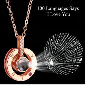 Girlfriend 100 Diller için Alentines Günü Hediye I Love You Projeksiyon kolye Sevgililer Günü Hediye Present, Says