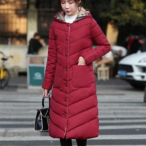 2020 Yeni Uzun Parkas ile Kapşonlu Kadın Kadın Kış Coat Kalın Aşağı Pamuk Ceket Bayan Dış Giyim Parkas Artı boyutu XXXL Cepler