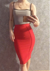 Womens Designer Empire Bodycon Skirts with Zipper Fashion Solid Color Sexy Knee Length Skirts Summer Slim Fit Hip Clothing
