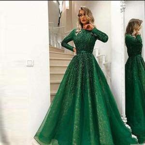 Verdi Abiti da sera musulmani Verde 2020 A-Line Maniche lunghe Tulle Pizzo Beaded Islamic Dubai Saudi Arabo Arabo lungo Abito da sera formale