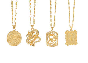 Fashion Chinese Dragon Pendant Necklaces for Women Gold Color Rose Flower Choker Necklace Mascot Ornaments Jewelry Gift Bijoux Accessories