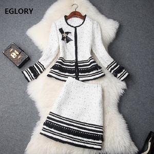 Top-Qualität Designer-Kleidung Sets Frauen Perlen Wolle Jacken Anzüge + warme Wolle Bleistiftrock Set Elegante Business-Anzug weiblich Set
