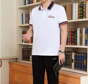 Casual Sprots 2pcs Ternos Moda homens velhos executando Suits Verão Plus Size Padres Fatos lapela pescoço Shorts Sleeve