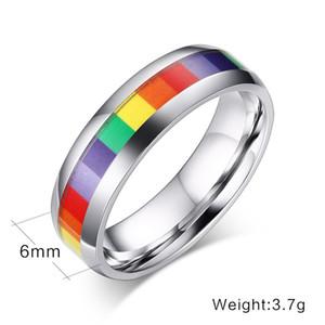 KNOBSPIN 2019 Bandas de casamento personalizado de aço do arco-íris Anéis LGBT inoxidável 316L para homens mulheres pendant