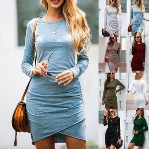 Women Sheath Dresses Soild Long Sleeve O-Neck Irregular Dress Lady Dress Women Short Dresses 07