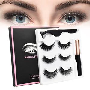 Natural cílios postiços com 5 ímã e magnéticos Eyeliner Faixa Falso cílios Mink cílios 25mm 3D Mink cabelo Lashes Set