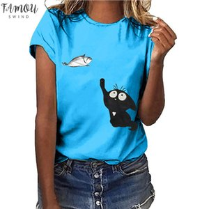 Camisetas Verano Mujer 2020 Cat Catching Fish Lovely Women Cotton T Shirts Harajuku Cotton Graphic Tees Chemise Femme