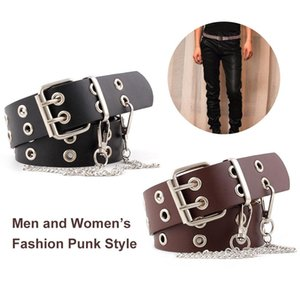 double row hole men and women belt fashion punk style corn eye chain decoration jeans belt belt (opp)