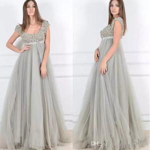 2020 Plus Size maternidade Vestidos de noite com cercadura decote cintura império Tulle A Linha Prom vestidos longos