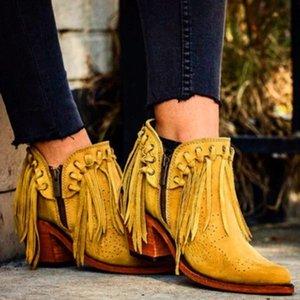 Vogue Güzel Yeni Kadın Fringe Batı Patik Kadın Süet Düşük Topuk Yuvarlak Burun Püskül Boots Kadınlar Bilek Boots Fermuar Ayakkabı