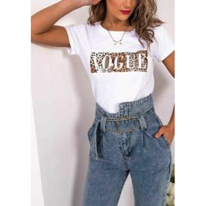 T-Shirt da donna di lusso Lettera VOGUE Stampato a maniche corte Casual Leopard Pattern Top Tees per l'estate Nuovo