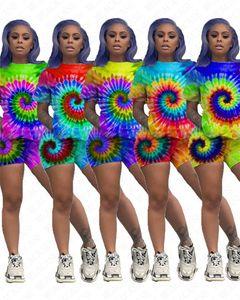 Летняя женская одежда цвет галстук-окрашенный спортивный костюм 3D печатные футболки топы и шорты наборы 2 шт. наряды женская спортивная одежда футболка костюм D62303