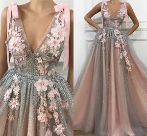 V cuello de tul una línea de vestidos largos Prom 2020 cristales moldeados de encaje 3D aplicaciones florales marco del arco más el tamaño de vestidos de noche Vestidos
