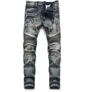 Mens Classic Biker Jeans Hombre Delgado Recto Rodilla Drapeado Panel Moto Biker Jeans Destruido Ripped Stretch Hip Hop Pantalones #1806