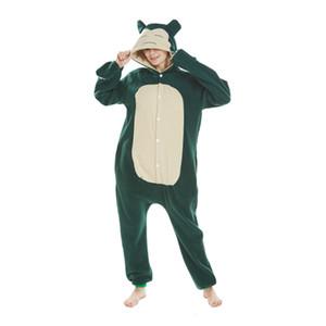 Snorlax Kigurumi Pocket Monster Cosplay Costume Adult Polar Fleece Cartoon Onesies Pajama Halloween Carnival Masquerade Party Jumpsuit