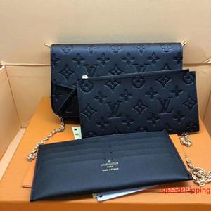 # 65455 정품 가죽 포 셰트 Felicie 3PCS L 브랜드 V 노안 여성 지갑 패션 체인 숄더 백 포 셰트 모바일 카드 홀더 지갑