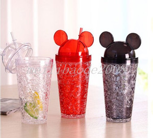 Мышь уха тумблеры 15 унций Акрилового стакана с купольной крышкой двойной стеной из прозрачного пластика массажеров с красочным соломенной летним напитком чашкой