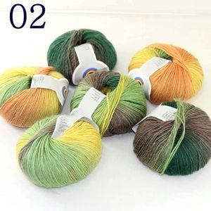 Sale Soft Cashmere Woo 6X50gr ball l Colorful Rainbow Wrap Shawl DIY Hand Knit Yarn Green Brown Orange Yellow 02
