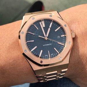 41mm Men Automatic Movement Classic Style Blue Dial Rose Gold Watch Sapphire 15400 Bracelete de aço inoxidável