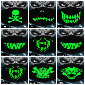 Luminous Gesichtsmaske Halloween-Skelett-Partei-Schablonen-Antistaub Zähne Glow Mundmaske Dunkel in der Nacht Schädel-Maskerade-Masken Cosplay GGA3514