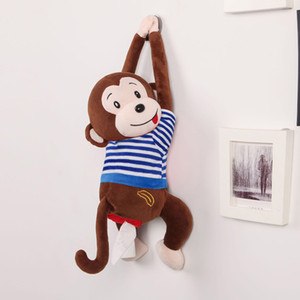 Cartoon Tissue Box Baby Cute Stuffed Toy Plush Animal Monkey Car Stroller Hanging Paper Napkin Box Cover Holder Paper Organizer