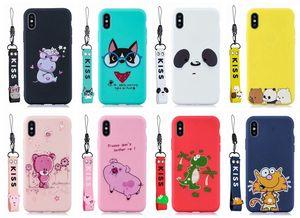 Bonito macio dos desenhos animados TPU Case para Iphone 11 XS MAX pulseira passadeira XR 8 7 Plus 6 5 SE Urso Cat Pig Tiger Dinosaur Beijo encantador tampa do telefone de luxo +