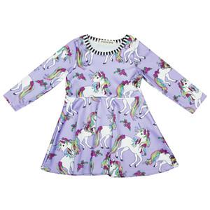 Bébé Licorne Filles Robes enfants Vêtements Casual filles Collier rayé de couleur Queue Unicorn Cartoon Imprimé enfant en bas âge 43