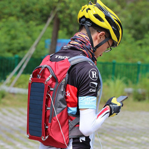 Men Cycling Bags Backpack Solar Powered 6.5W 5V Backpack Waterproof Laptop Daypacks Traveling Backpacks Shoulder Bag with 2L Water Bag