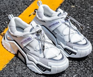 couro versão 2019 homens coreano sola grossa todos os tipos de malha respirável esportes sapatos casuais Dad calçados femininos menina botas esportes tênis