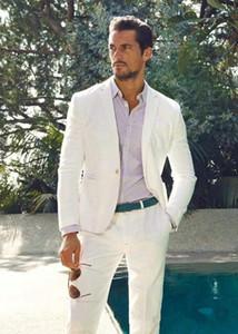 Новый Белый Slim Fit белье Мужские костюмы Летние свадебные Жених Смокинги 2 шт (куртка + брюки) Groosman костюмы Best Man Blazer 421
