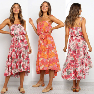Frauen Boho Riemen-Kleid 5 Farben Lady Maxi lose Sommerkleid mit Blumenmuster Kleider Womens Casual Backless Rüsche Asymmetrisches Kleid S-XL 060402
