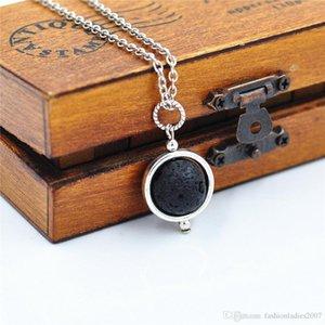 14mm Lava-rock Bead Pendant Necklace Aromatherapy Essential Oil Diffuser Necklace Black Lava Pendant Jewelry For Women