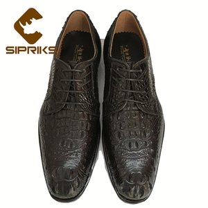 Sipriks Italian Custom Mens Sewing Gents Suit Shoes Black Crocodile Skin Shoes Elegant Alligator Leather Boss Office Dress Shoes