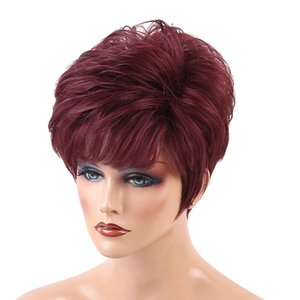 Cool Design Short Straight Wigs With Bangs Wine Red Color Heat Perm OK 70% Real Human Hair Full Head Women Wigs,Pixie Cut Layer Wig