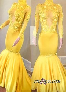 2019 New Yellow Manica Lunga Prom Dresses Mermaid Collo Alto Vintage Abiti Da Sera Africani Vedere Attraverso Keyhole Vestidos de fiesta BC1443