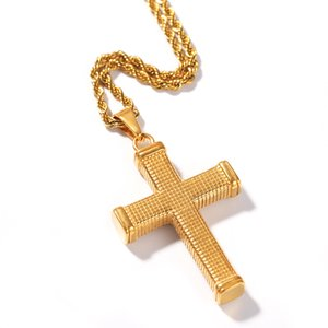 Neue Kreuz Halsketten Anhänger Für Männer Edelstahl Gold Farbe Männlichen Anhänger Halsketten Gebet Schmuck Freund Geschenk